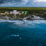 Kite surfing in Mexico near ancient ruins
