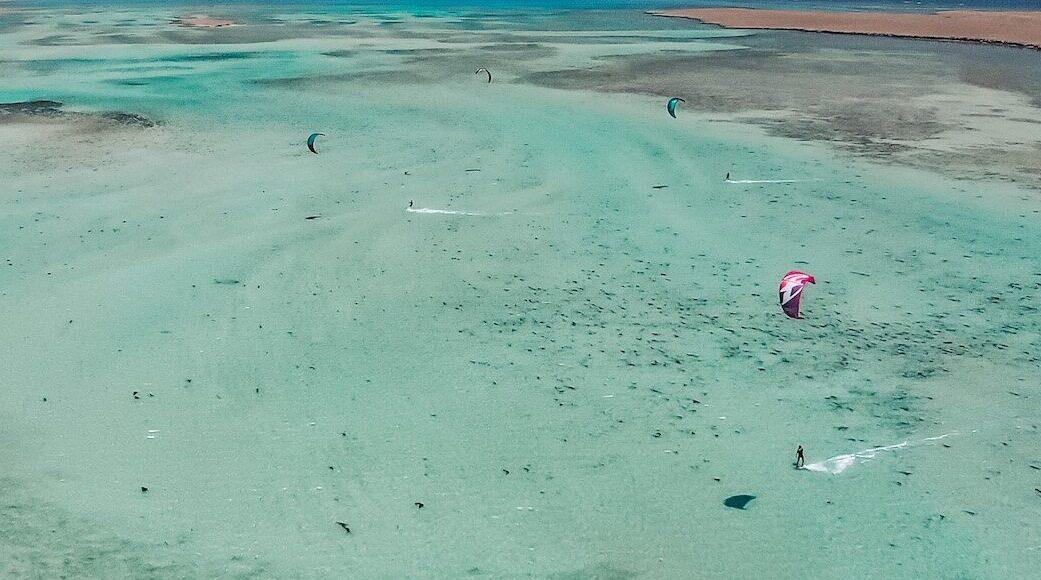 Dragonfly kite surfing water shot
